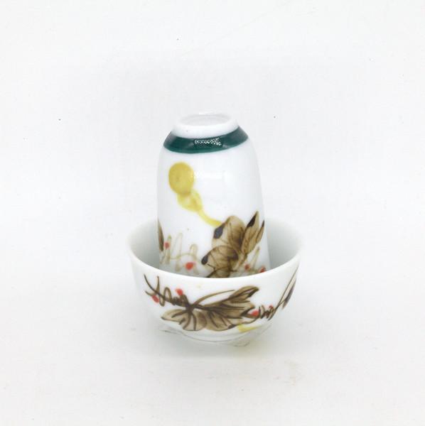 """Чайная пара фарфор """"Коричневые цветы"""""""