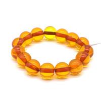 Чётки Янтарь Жёлтый прозрачный 15 бусин 14 мм