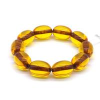Чётки Янтарь Жёлтый прозрачный цзун 10 бусин 21*14 мм
