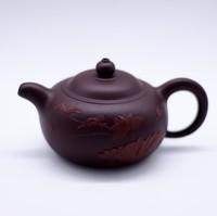 """Чайник глина пурпурная """"Лотос и Зимородок"""" 120мл"""