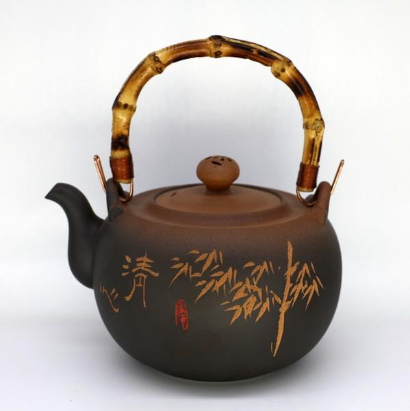 """Чайник для воды глина """"Красная Печать. Бамбук"""" 1300мл"""
