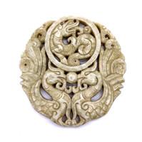 """Нефрит медальон """"Два феникса и дракон"""""""