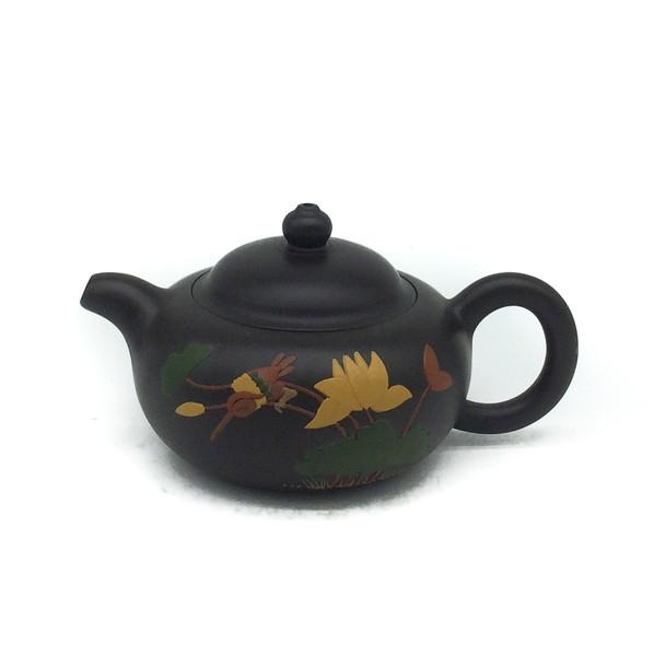 """Чайник глина тёмная """"Птицы и цветы"""" 100 мл"""