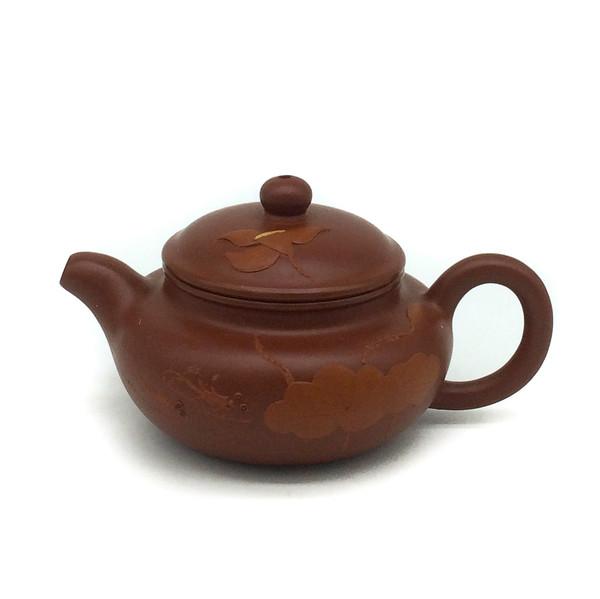 """Чайник глина рыжая """"Лотос и рыбки"""" 80 мл"""