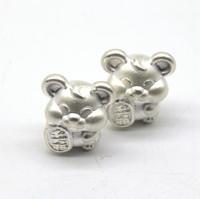 Серебро Мышь с монетой серебро 11×13мм