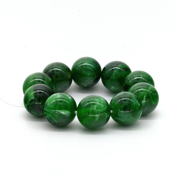 """Чётки янтарь """"Зелёный"""" 10 бусин 24мм"""