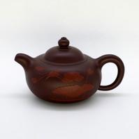 "Чайник глина коричневая ""Птица на Лотосе"" 120мл"