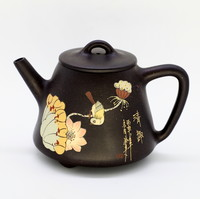 """Чайник глина черная """"Птица на лотосе"""" 220мл"""