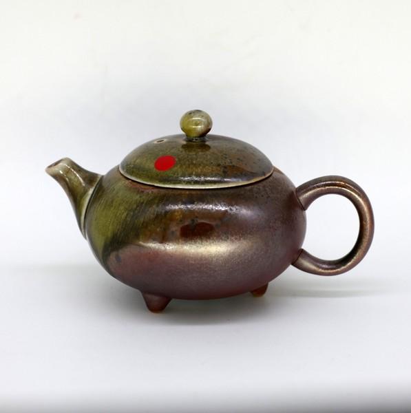 "Чайник глина дровяной обжиг ""Огненная лавина"" 160мл"