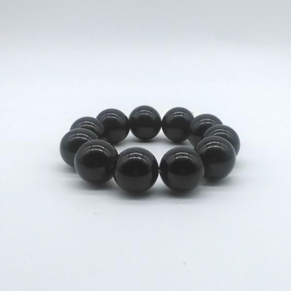 Четки-браслет , Янтарь, 11 бусин, тёмно-серые