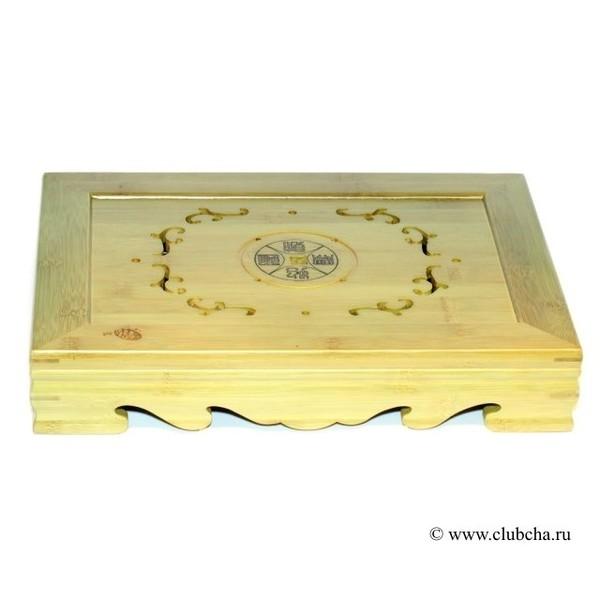 """Чайный столик, бамбук """"Счастье, Долголетие, Удача, Богатство"""""""