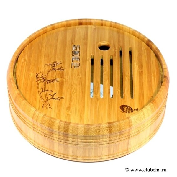 Чайный столик, круглый, светлый бамбук