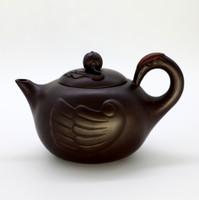 """Чайник глина коричневая """"Журавль и персик бессмертия"""" 194 мл"""