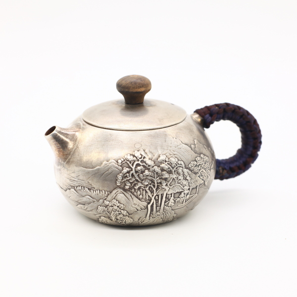 """Чайник из металла. серебро """"Горы и воды"""""""