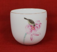 "Чашка Цзин Дэ Чжэнь. Фарфор. ""Птица на цветке лотоса"""