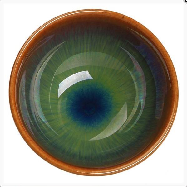 Чашка глина Глазурь Теммоку, зеленая 50 мл