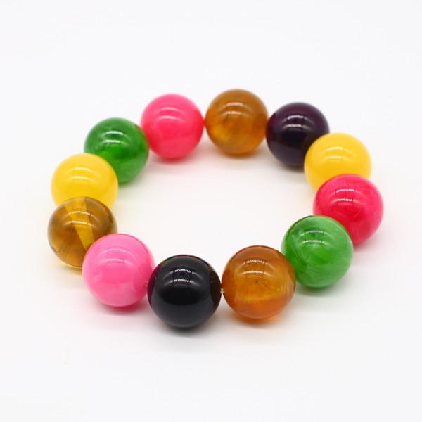 Четки-браслет , Янтарь, 12 бусин, разноцветные