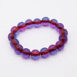 """Четки-браслет янтарь """"Фиолетовый прозрачный"""" 15 бусин 14 мм"""