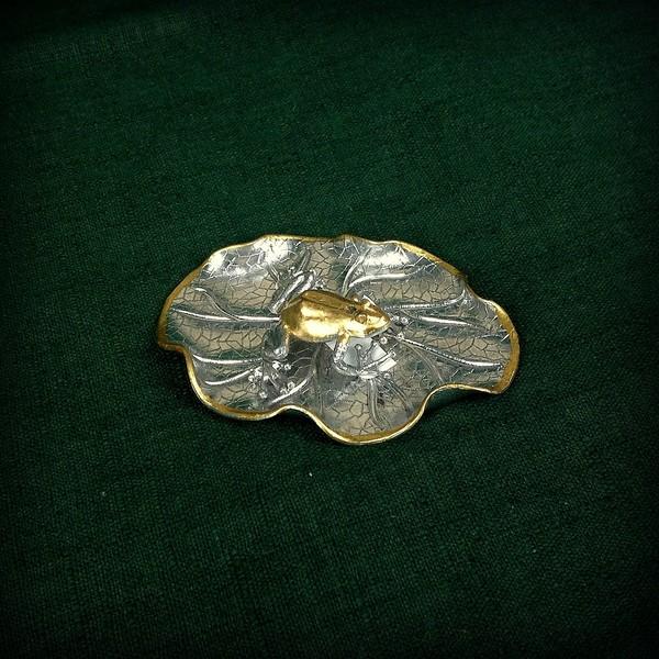 Сян Лу, серебро, Лягушка на листе