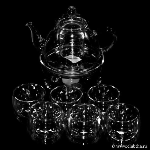 """Набор стекло """"Европейский"""": чайник + подставка + 6 чашек"""