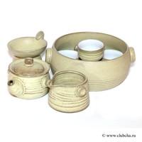 """Набор """"Тайваньский глиняный"""" чайник + чахай + 6 чашек + сосуд для слива + сито"""
