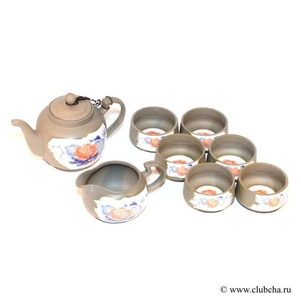 """Набор """"Глина + фарфор: пионы"""" чайик + чахай + 6 чашек"""