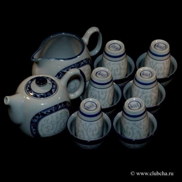 "Набор для Гун Фу Ча ""Танские травы на серо-голубом"" чайник + чахай + 6 чайных пар"