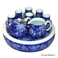 """Набор для Гун Фу Ча """"Пион"""": чайник, чахай, 6 чайных пар. Фарфор с глазурью, пр-во Тайвань"""