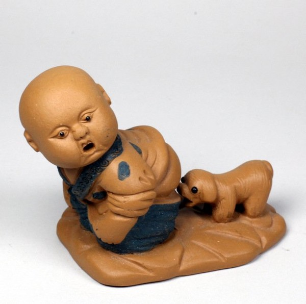 """Фигурка глина """"Мальчик со щенком"""""""