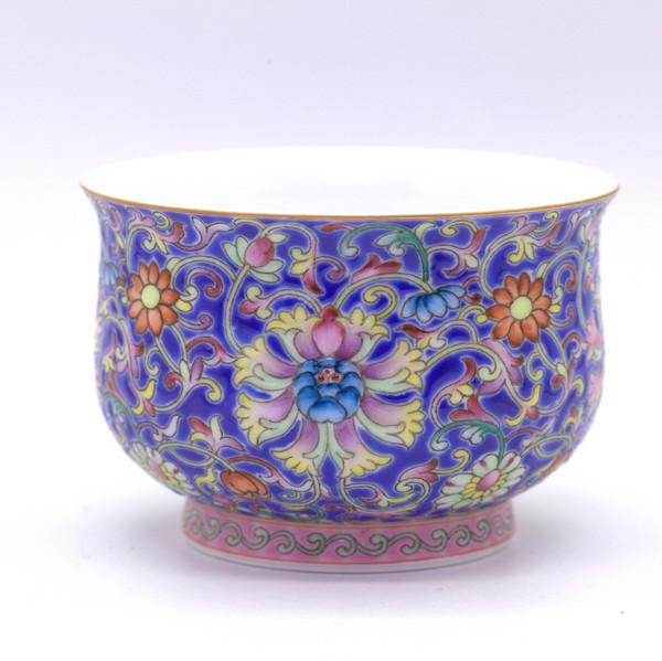 """Чашка фарфор """"Цветы на синем"""" 185 мл"""