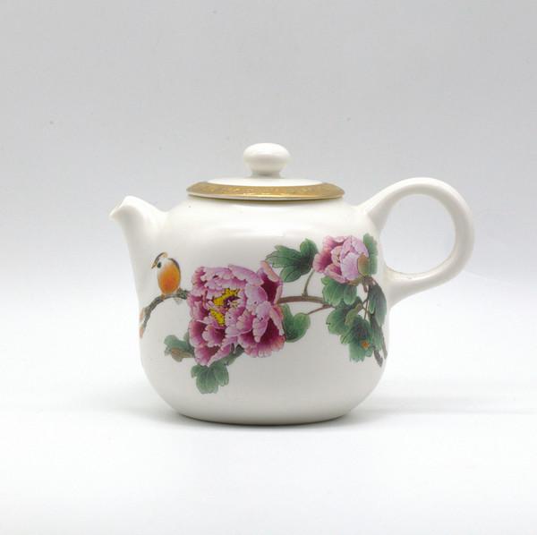 Чайник фарфор птичка на ветке наработанный чайник из чайной 250 мл
