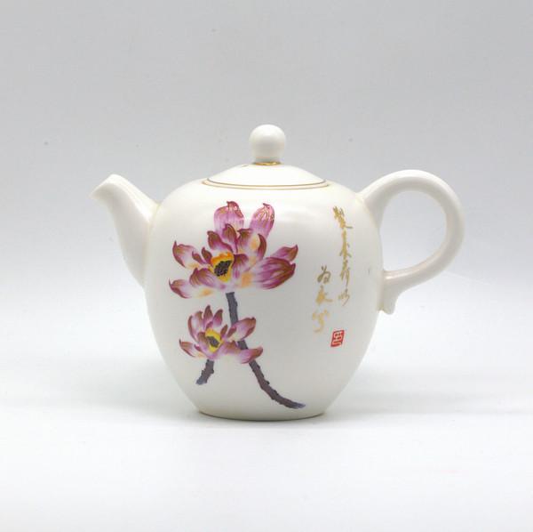 Чайник фарфор лотосы наработанный чайник из чайной 220 мл