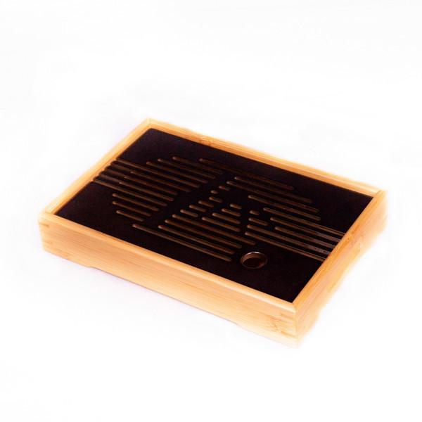 Чайный столик бамбук Тёмный прямоугольная 27х18,5x4,5 см