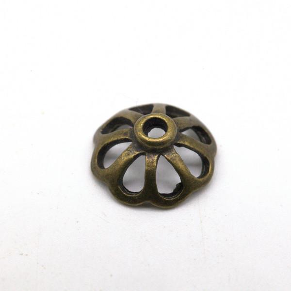 Шапочка для бусин металл Ажур Античная Латунь 11 мм