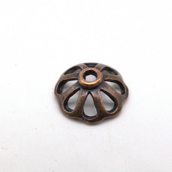 Шапочка для бусин металл Ажур Античная медь 11 мм