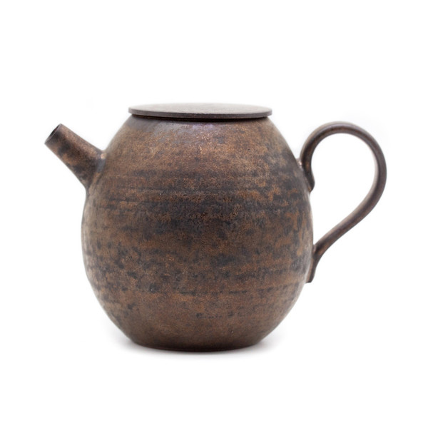 Чайник глина дровяной обжиг Позолота