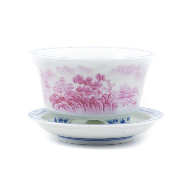 Горшок для цветов фарфор Розовый пейзаж