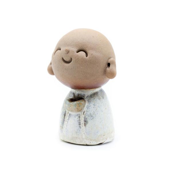 Курильница глина Мальчик-монах белый