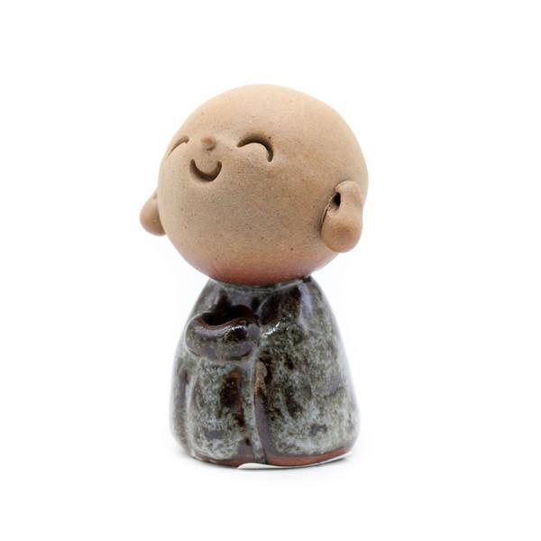 Курильница глина Мальчик-монах светлый