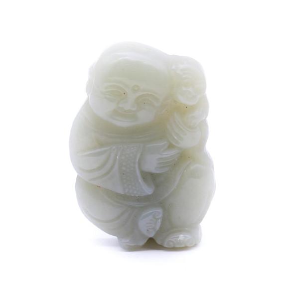 Нефрит резьба монах с обезьяной