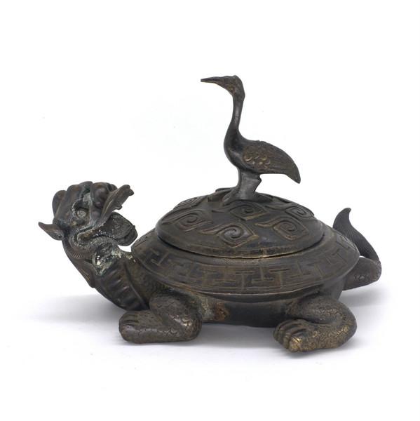 """Тушечница бронза """"Черепаха-дракон с цаплей"""""""