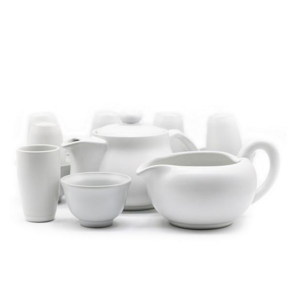 Набор белый тайваньский Гун Фу Ча чайник чахай 6 чайных пар