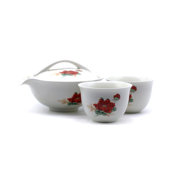 Набор фарфор Красный пион тайваньская гайвань-чайник + 2 чашки