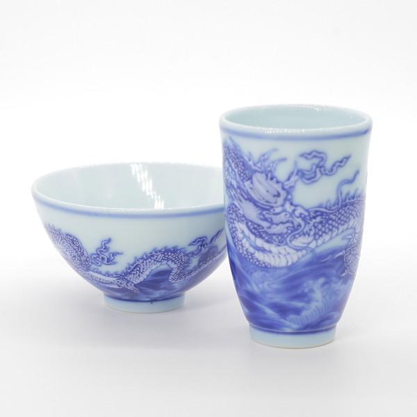 """Чайная пара фарфор """"Голубой дракон в море"""" 40 мл"""