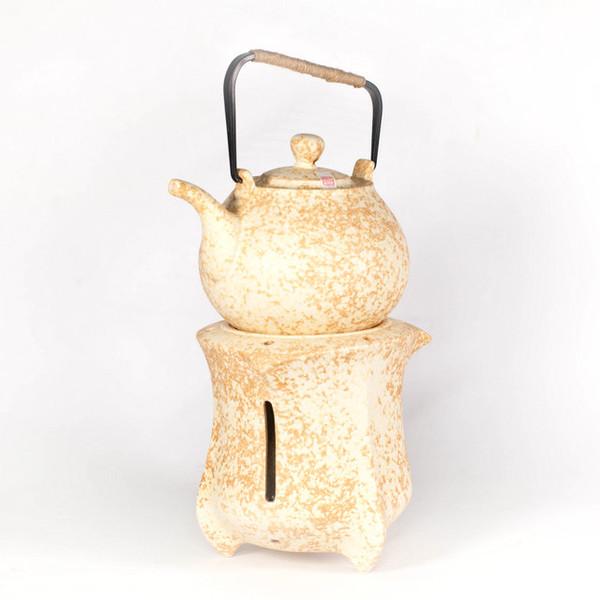 Чайник 950 мл для воды желтая глина со спиртовкой