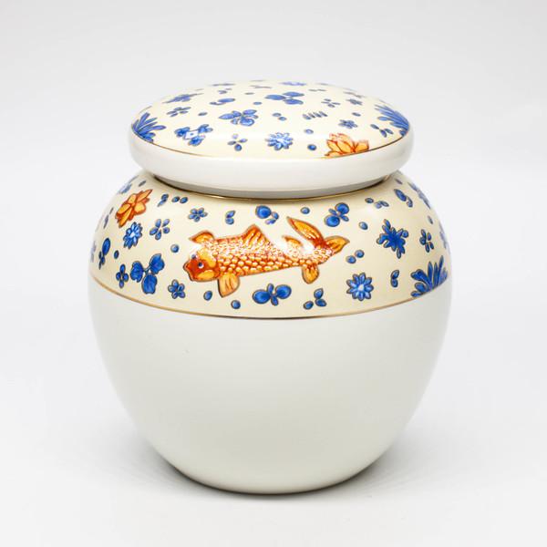 """Чайница """"Оранжевые рыбы и синие цветы"""""""