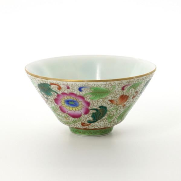 """Чашка фарфор Цзин Дэ Чжэнь """"Цветы"""" 85 мл"""