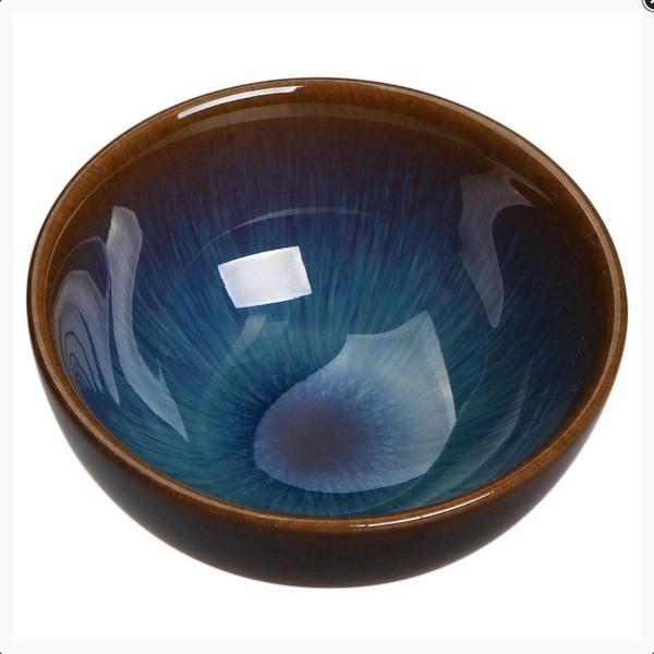 Чашка глина Глазурь Теммоку голубая 50 мл