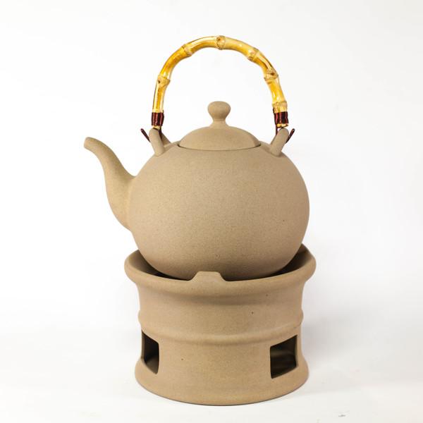 Чайник для воды глиняный с подставкой и спиртовкой 2400 мл