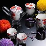 """Набор """"Алые цветы, фарфор и стекло Eilong"""" чайник + 6 чашек"""